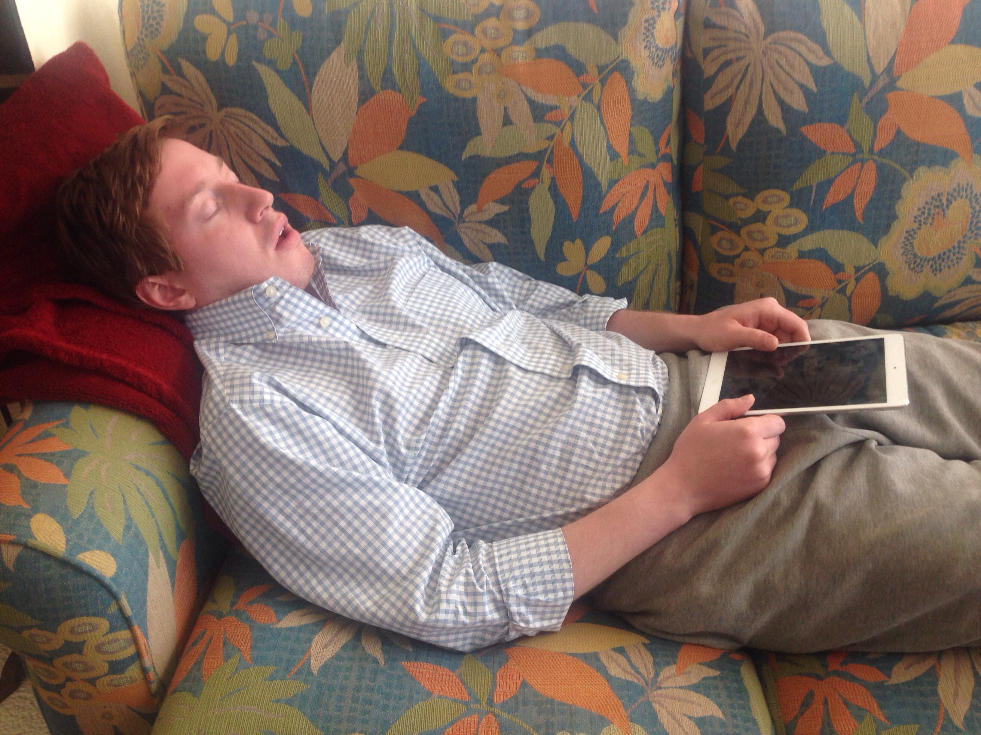 Sleeping position of man