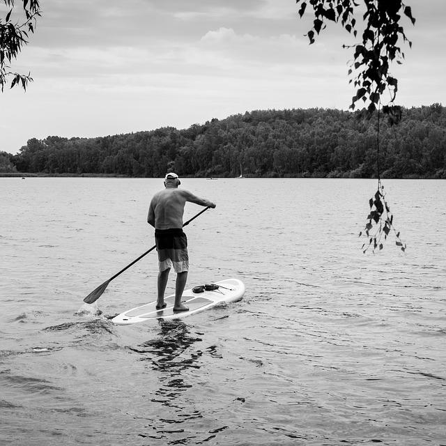 Older man rowing